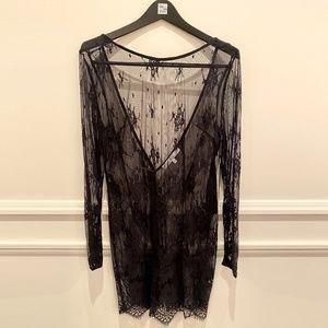 Lovers + Friends Sheer Black Lace Dress